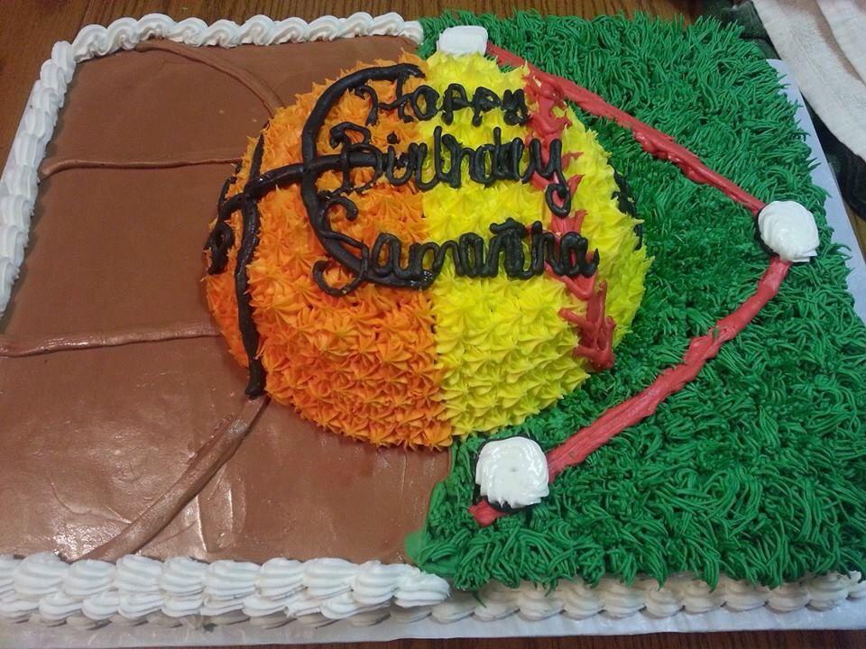 Incredible Softball Basketball Cake With Images Softball Birthday Cakes Personalised Birthday Cards Paralily Jamesorg