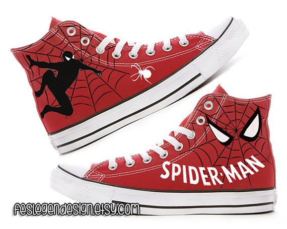 SpiderMan Custom Converse Painted Shoes by FeslegenDesign