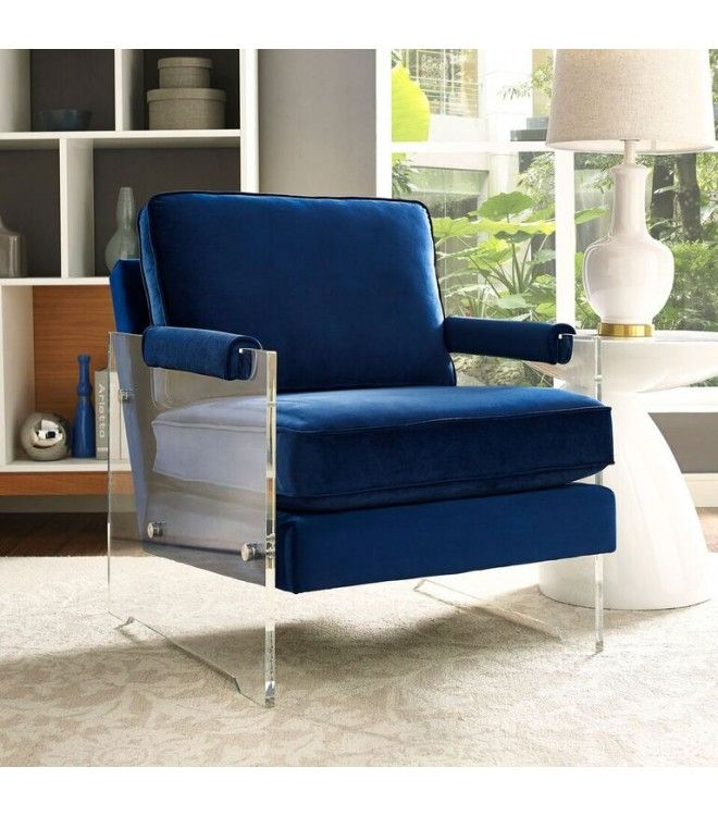floating blue velvet acrylic arm accent chair navy target flynn chairs with arms