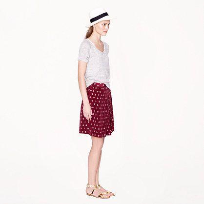 Silk pleated skirt in mini medallion