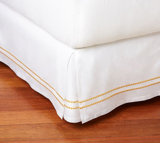 Pearl Embroidered Box Pleat Bed Skirt Twin Marigold Yellow Guest
