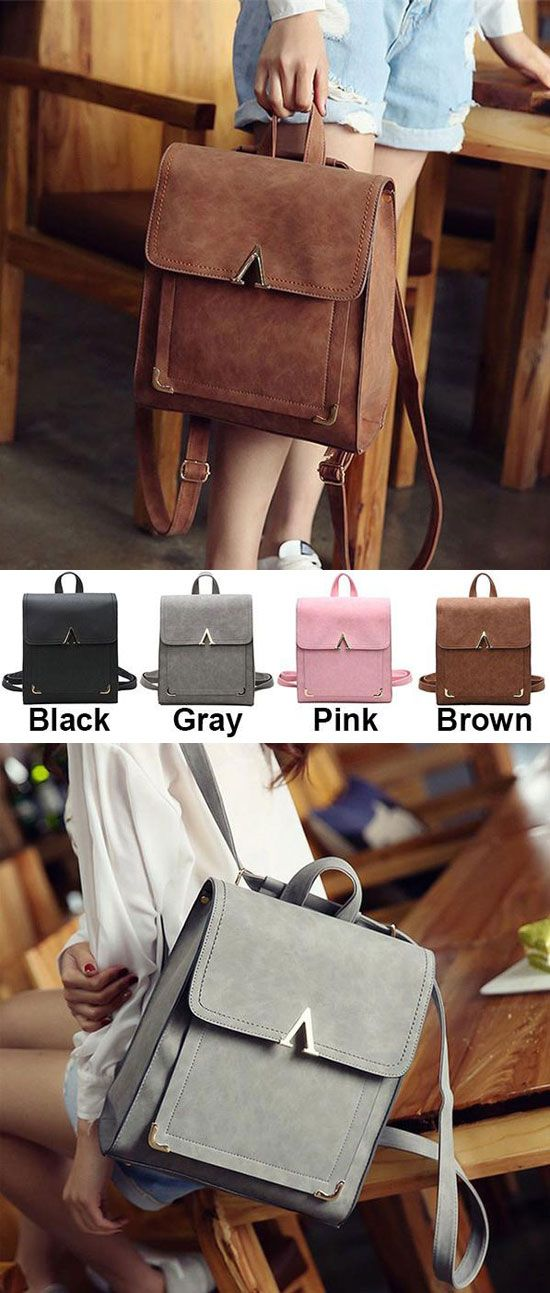 565ca228e8ac Retro V Shaped Leisure College Backpack Frosted PU Flap Square School  Backpack for my sister!  retro  leisure  Backpack  college  student  Bag   cute