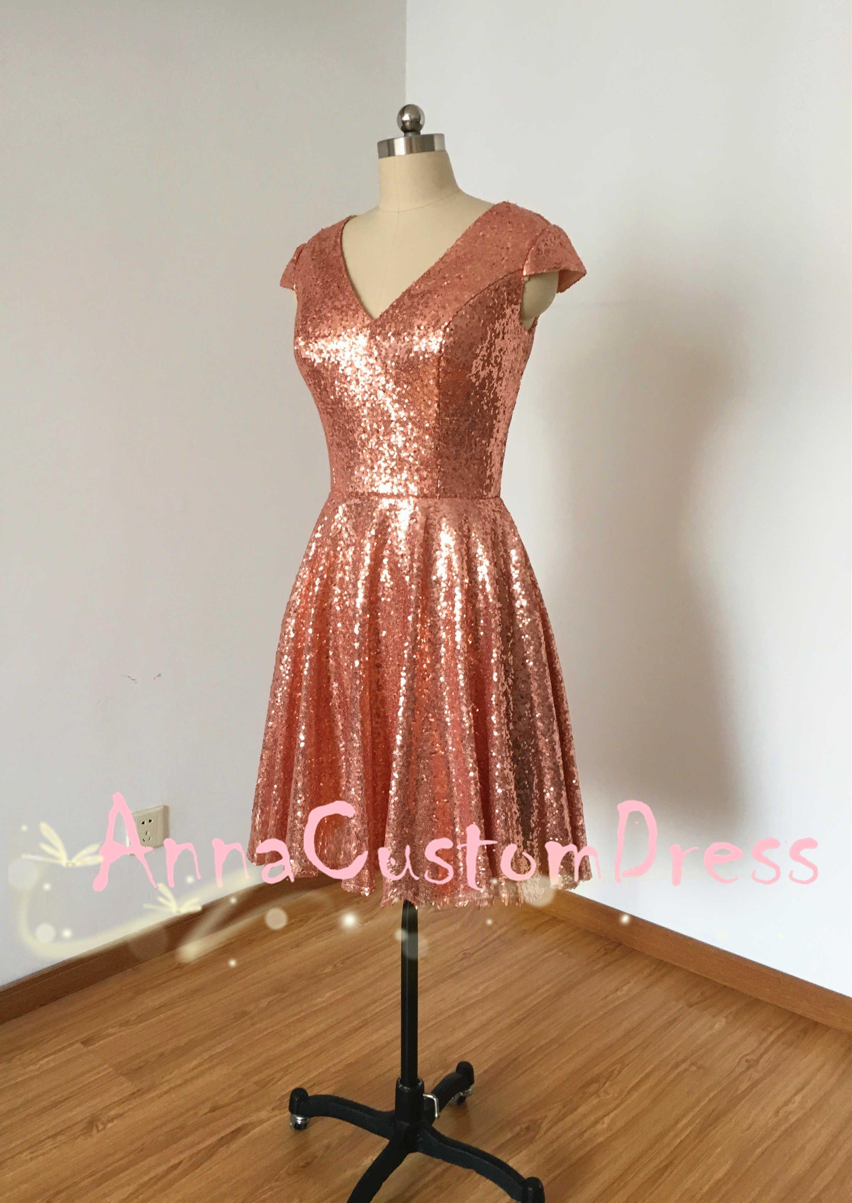Cap sleeves vneck short rose gold sequin bridesmaid dress rose
