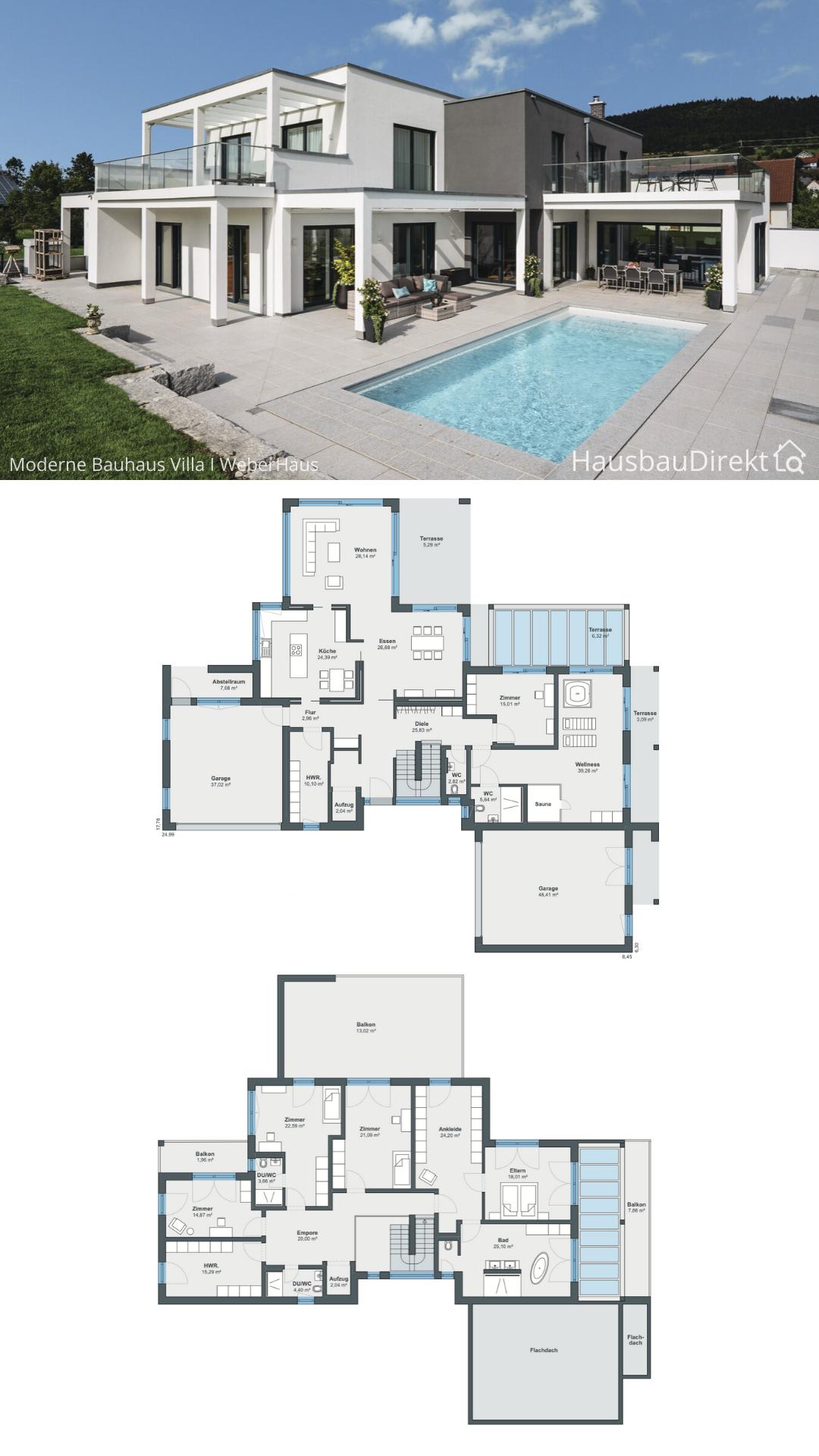 Luxus Einfamilienhaus mit Flachdach Garage & Pool Terrasse bauen Haus Grundriss Ideen 400 qm gross