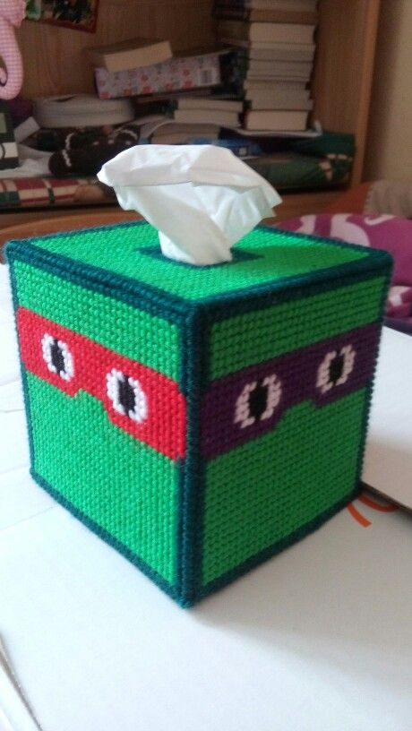 Plastic canvas tissue box cover, TMNT. Made it for my son.