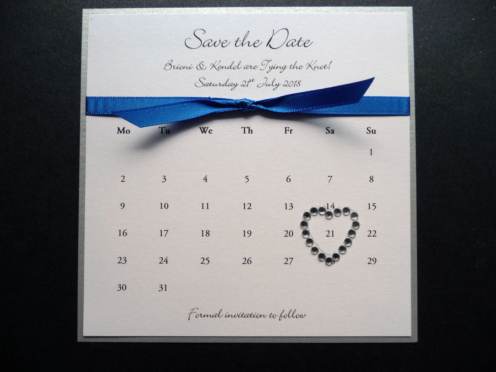 Silver And Royal Blue Styled Calendar Theme Save The Dates