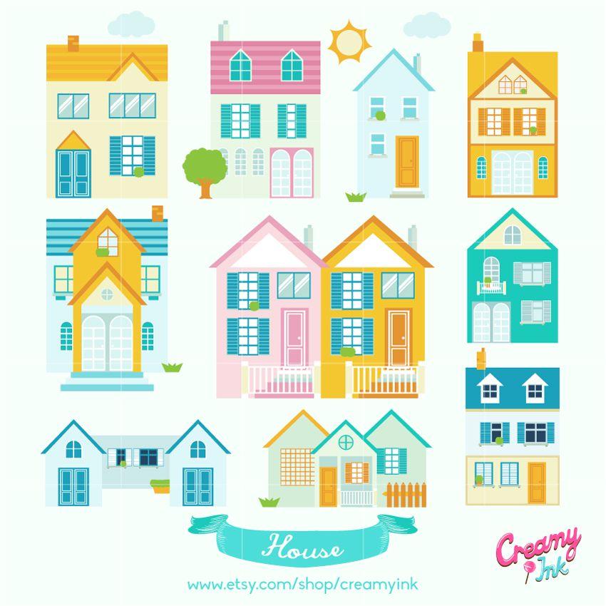Little Neighborhood Digital Vector Clip art / Cute House ...