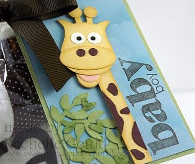 Giraffe card - made with the Stampin Up owl builder punch!