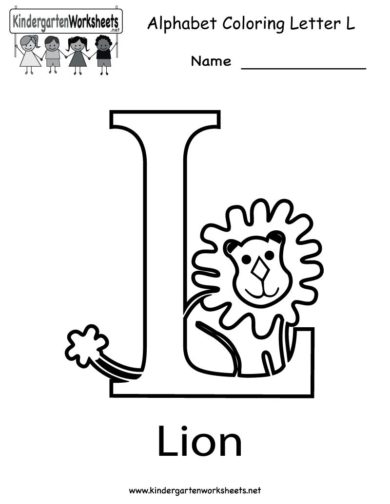Kindergarten Letter L Coloring Worksheet Printable