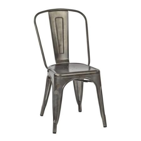 Office Star Bristow Patio Dining Chair in Matte Galvanized (Set of 4) - Walmart.com
