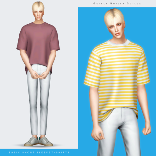 Basic Short Sleeve T-Shirts For The Sims 4