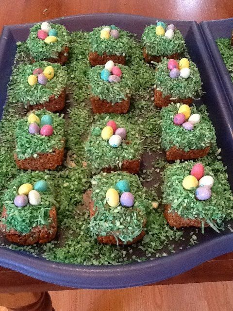 Rice crispie treats with brown food coloring, home made chocolate ...