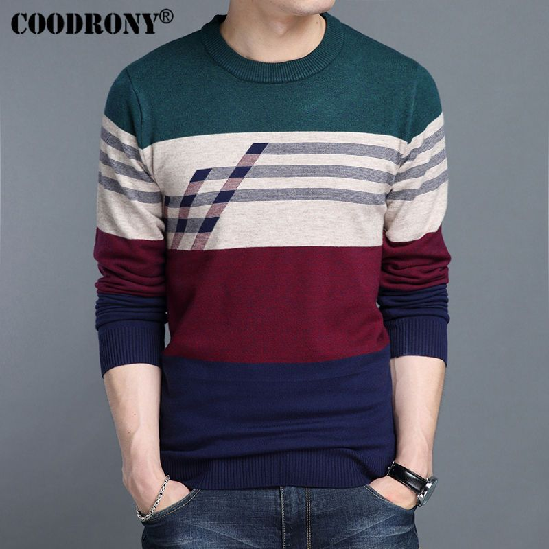 COODRONY Cashmere Sweater Men 2017 Autumn Winter Thick Warm Wool Sweaters  Casual Big Striped O-Neck Pullover Brand Clothing 7205 4408f5ff2