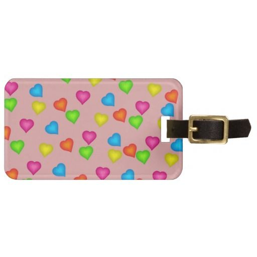 Bright Colorful Hearts Luggage Tag