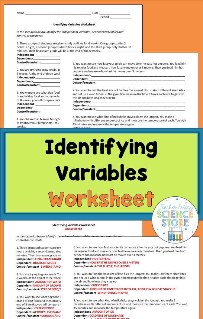 Identifying Variables Worksheet General Science Pinterest