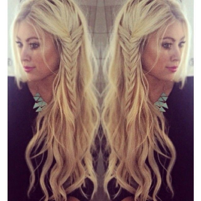 Love her hair! Beach waves with a side braid...boho hairstyle womens long hair loose waves