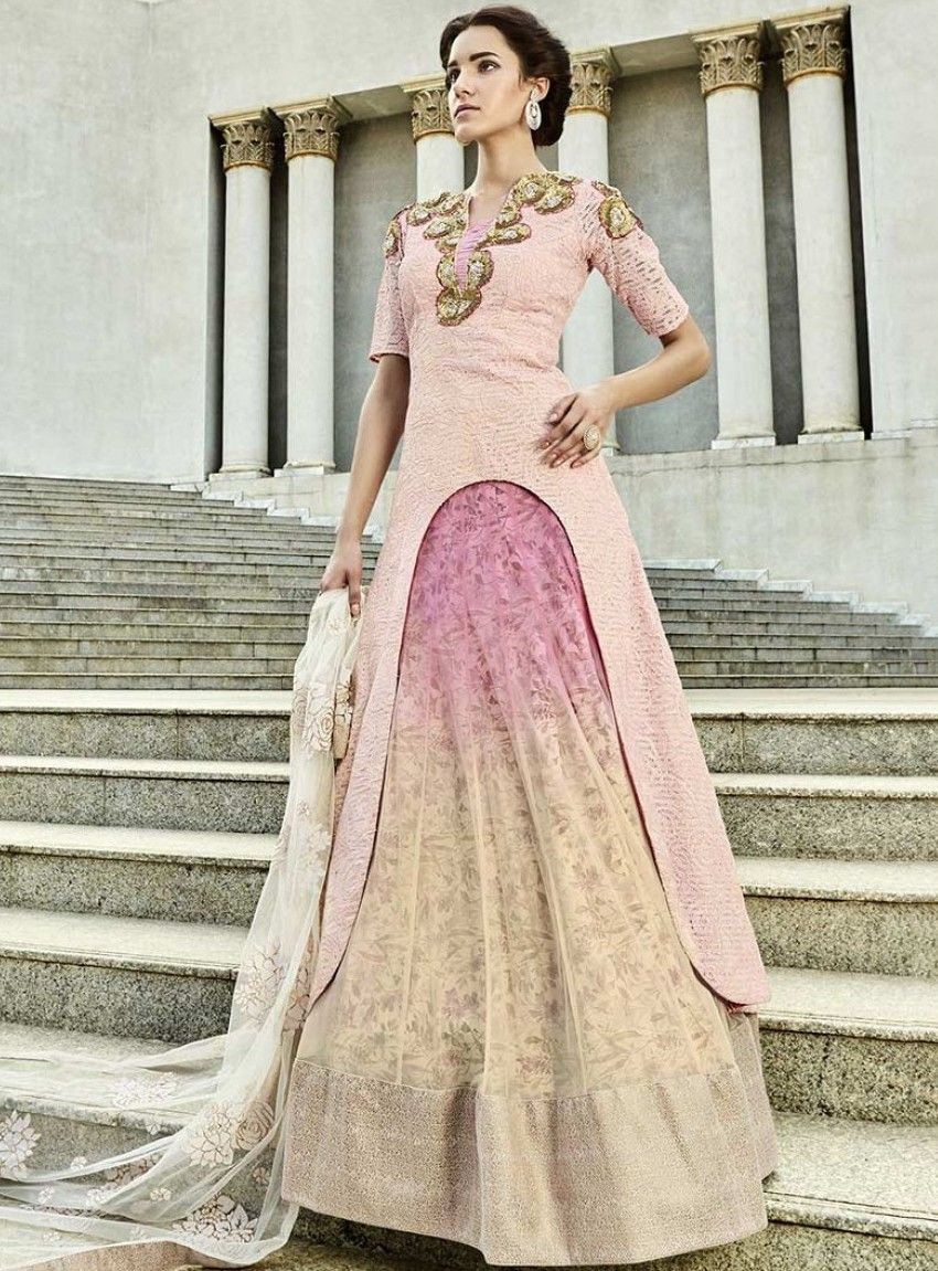 Light pink and yellow shaded lehenga embrace eternal beauty with the