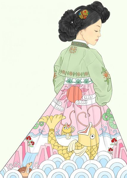 A Woman Dressed In Hanbok Hanbok South Korea Or Chosŏn Ot North Korea Is The Traditional Korean Dress Korean Painting Korean Art Hanbok