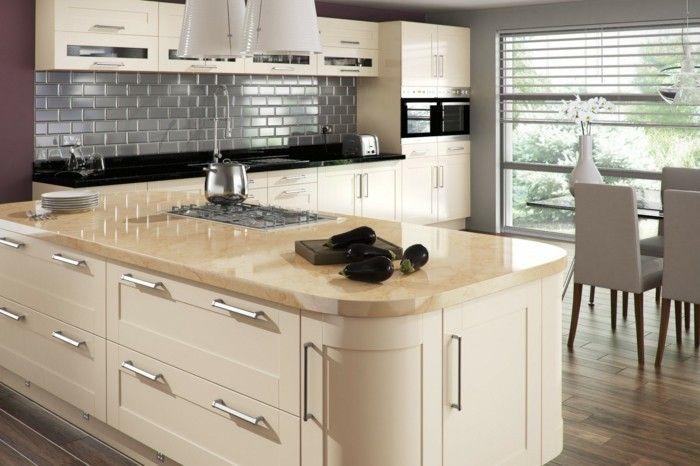 Hochwertig Wohnideen Küche Creme Kücheninsel Graue Küchenrückwand Metro Fliesen