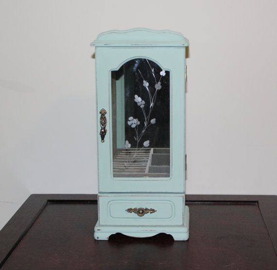 Mint green shabby vintage jewelry box Jewelry organizer chalk