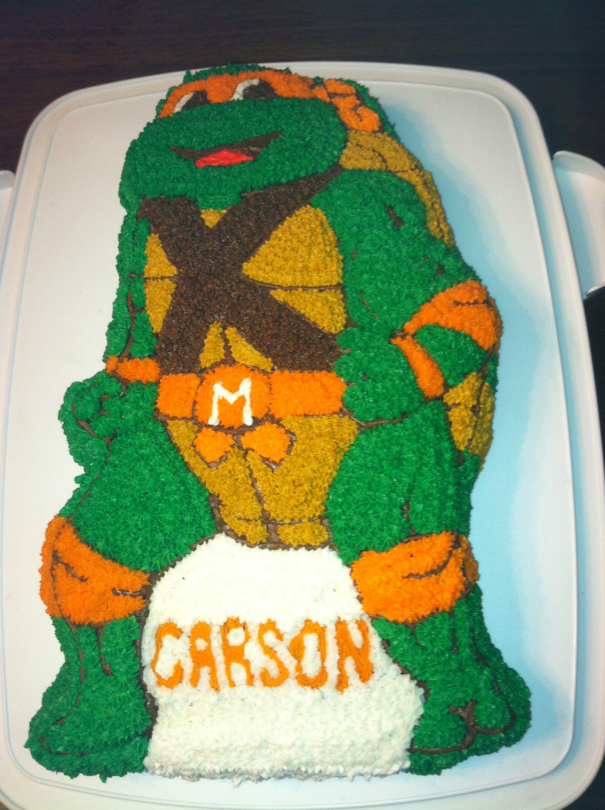 Magnificent Teenage Mutant Ninja Turtle Cake Using The Wilton Tmnt Pan With Personalised Birthday Cards Petedlily Jamesorg