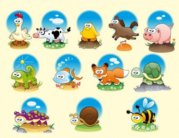 Dibujos Animados De Animales Estudiando: Animales De Dibujos Animados Vector