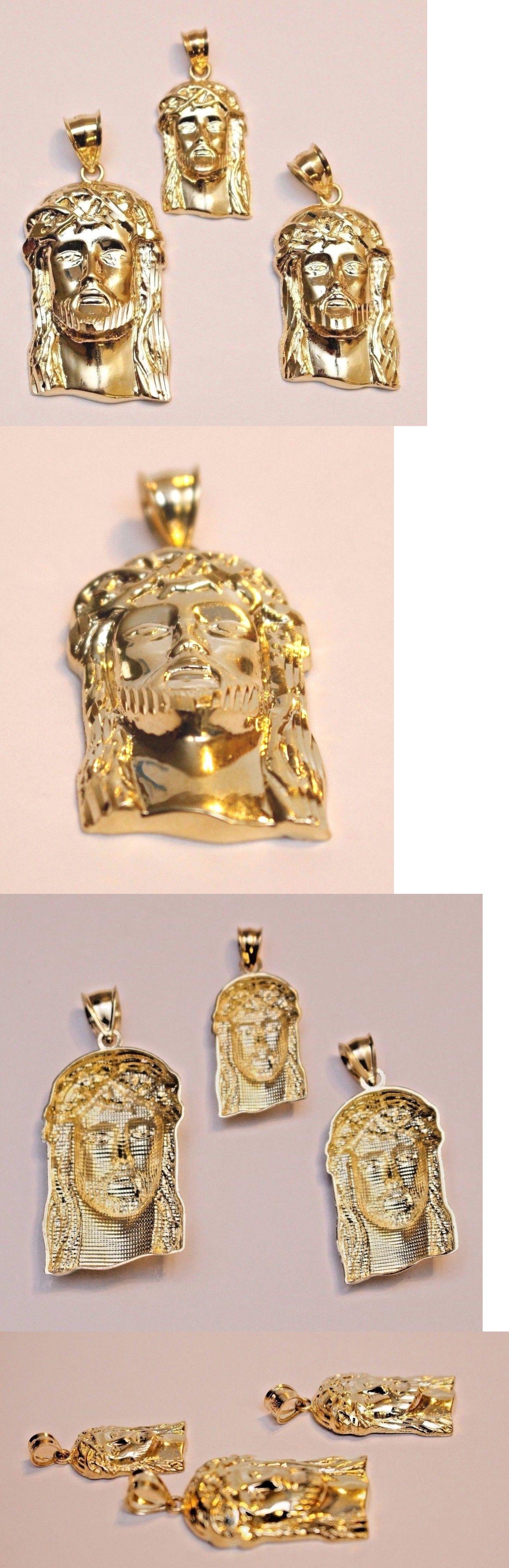 K gold diamond cut jesus face head pendant charm other fine