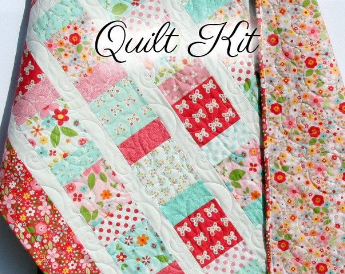 Baby girl quilt kit garden girl riley blake fabrics craft baby girl quilt kit garden girl riley blake fabrics craft project quilting sewing solutioingenieria Images