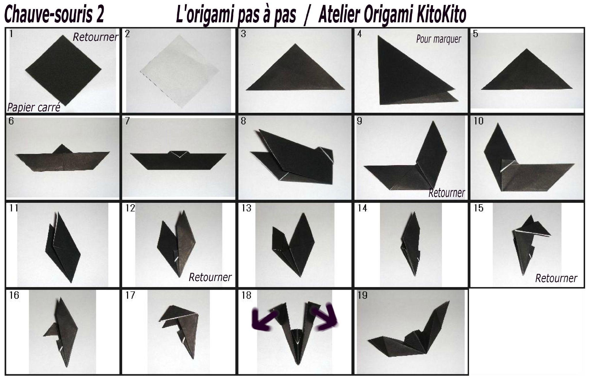origami facile chauve souris