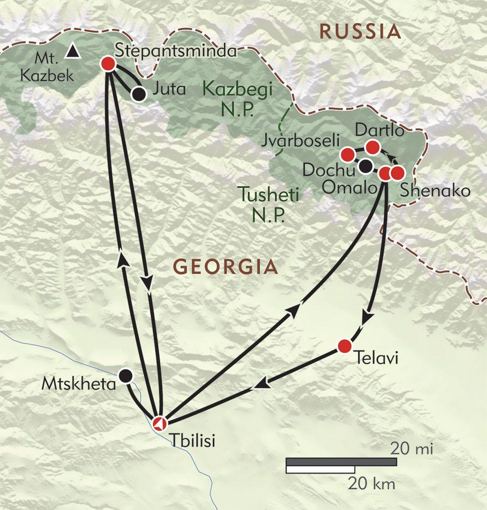 Hikers Journey To The Caucasus Routemap Georgia Pinterest - Georgia kazbegi map