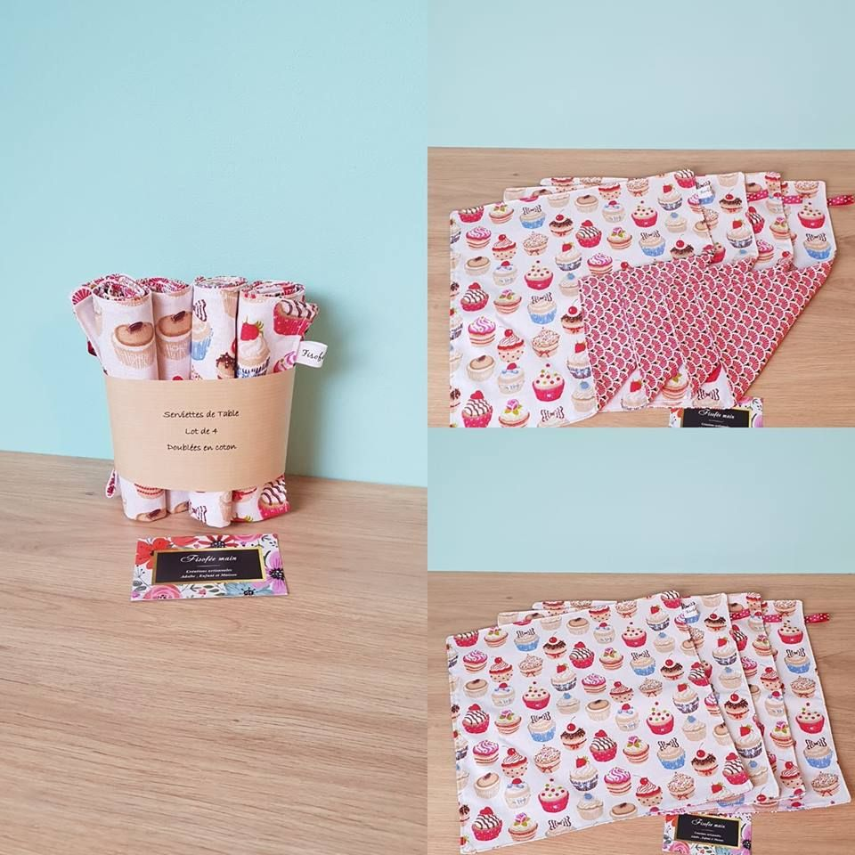 Lot De 4 Serviettes De Table Cupcake En Coton Creation Fait Mains Serviette De Table Creations Artisanales Serviettes