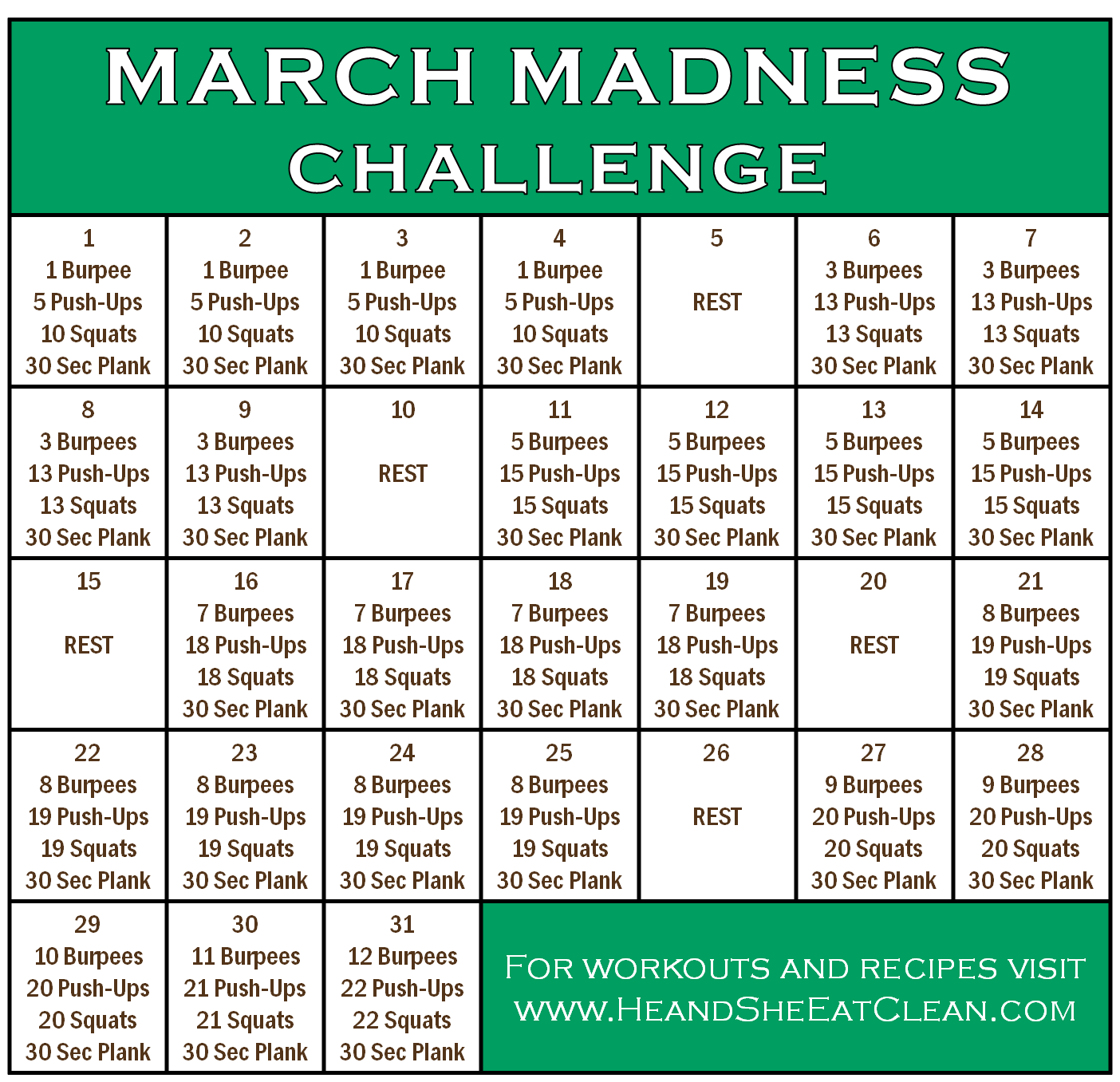 March Madness Fitness Challenge March Madness Fitness Challenge Workout Challenge Full Body Workout Challenge