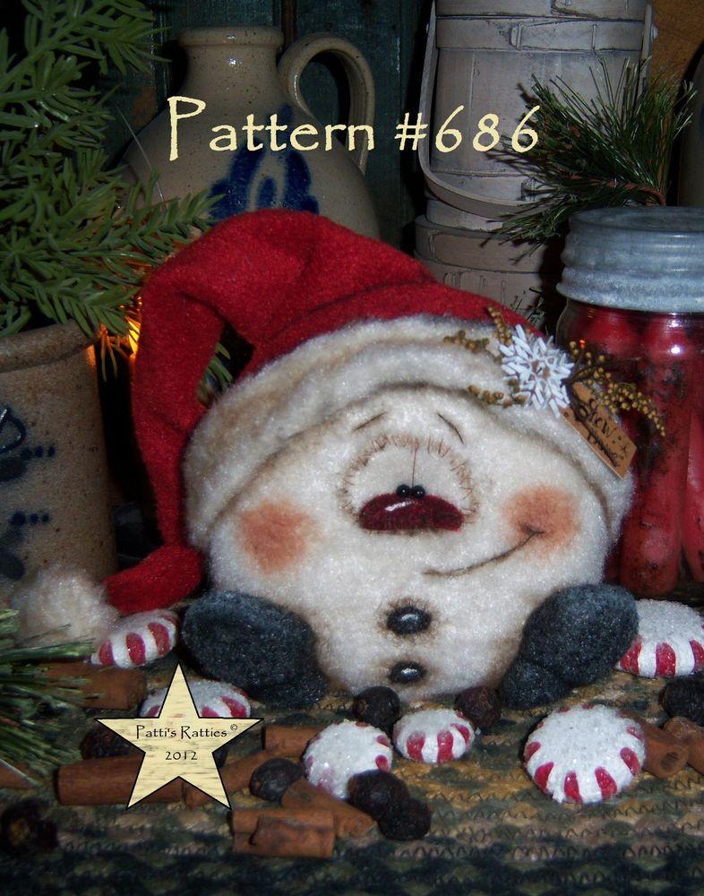 Patti's Ratties Primitive Christmas Snowman Snowflake Ornament Doll Pattern 686