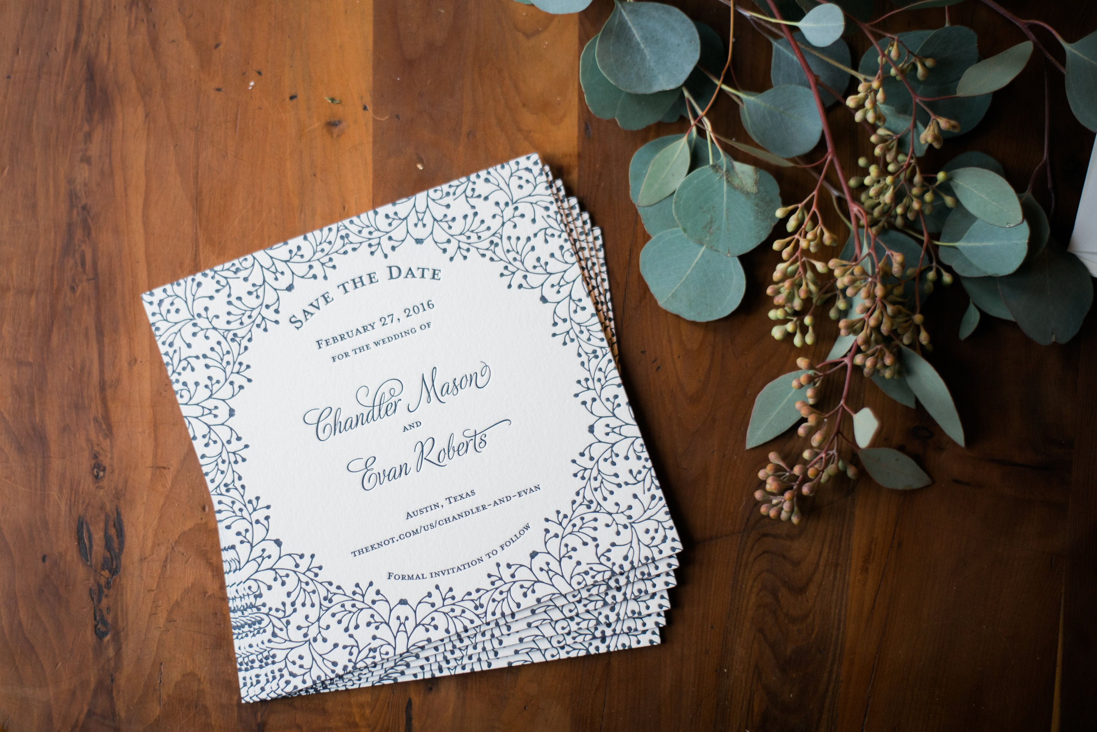Letterpress printed save the date with purple painted edges by The Inviting Pear | Kelsey Butler Photography