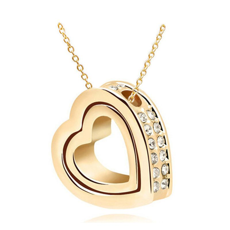 New women double heart white crystal gold charm pendant chain new women double heart white crystal gold charm pendant chain necklace yb4s1 https mozeypictures Gallery