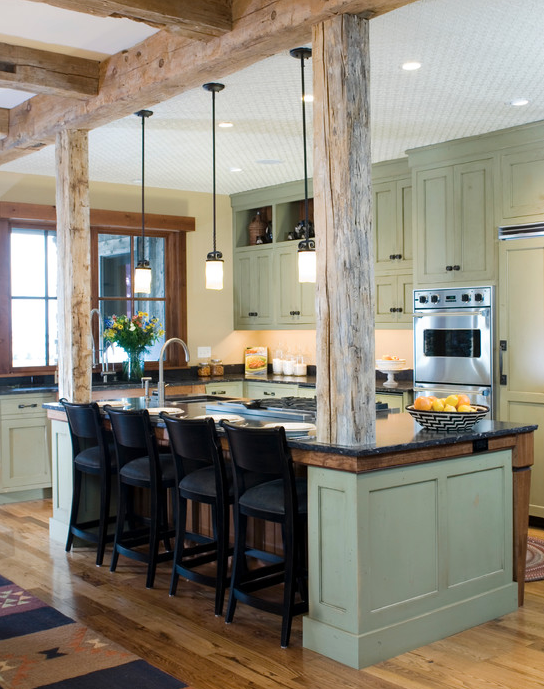 Beautiful Kitchen Featuring Rustic Materials And Gorgeous Louisburg Green Benjamin Moore Painted Cab Rustic Kitchen Design Rustic Kitchen Rustic Modern Kitchen