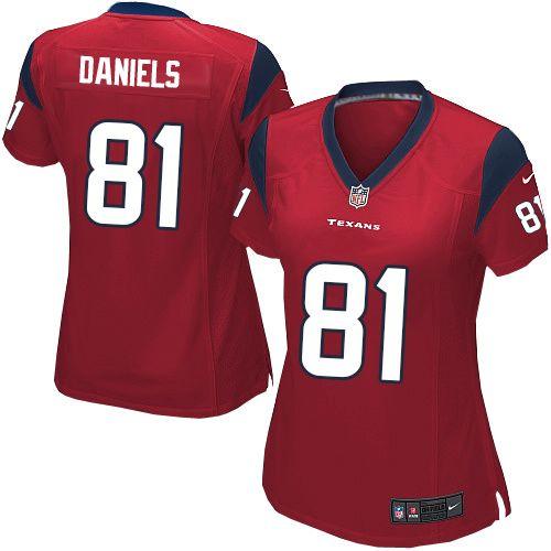 nike elite womens houston texans 81 owen daniels alternate red nfl jersey 109.99
