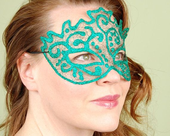 SHEER MASK Sparkle Mesh emerald greenmasquerade by KMCQdesigns, $35.00