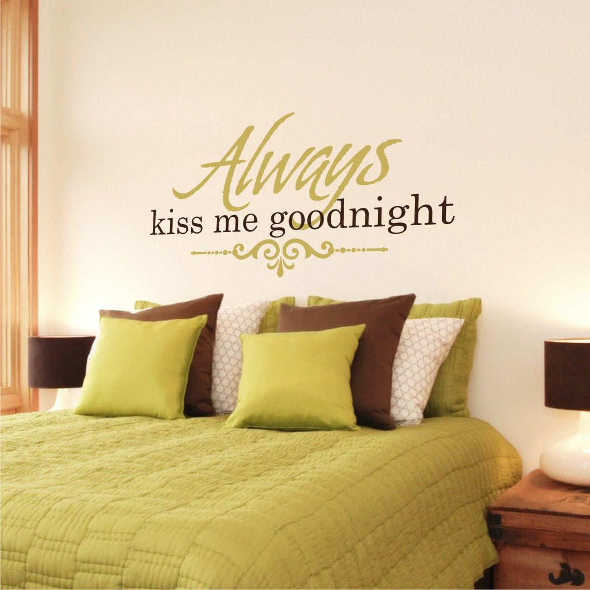 Always Kiss Me Goodnight with scroll Love Vinyl Wall Quote. | All ...