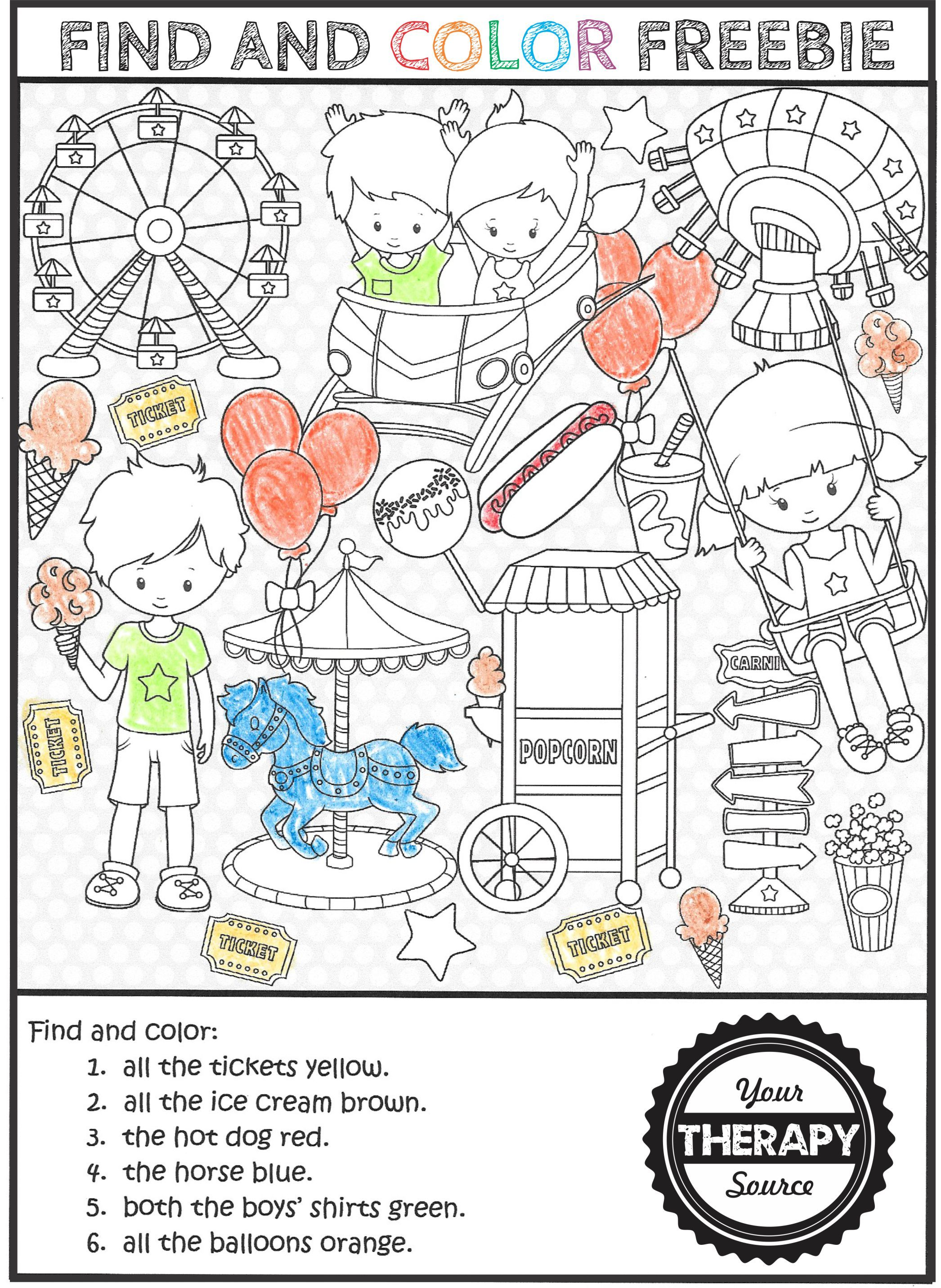 Find And Color At The Amusement Park