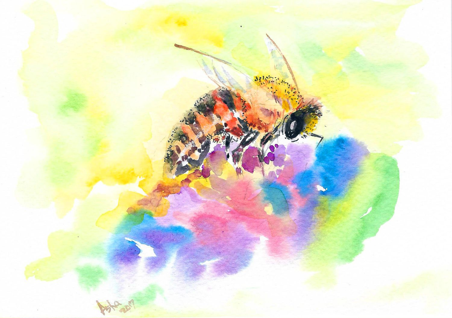 Original Small Bumble Bee Watercolour Painting 5\