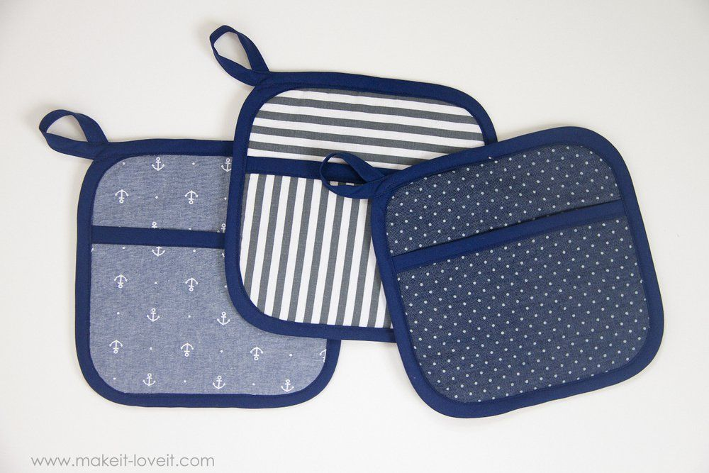 Square Hot Pads with Hand Pockets | Squares, Sewing projects and ...