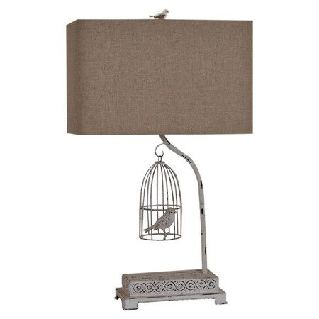 Cast a warm glow in your living room or reading nook with this eye-catching table lamp, showcasing a natural linen shade and birdcage-inspired base.