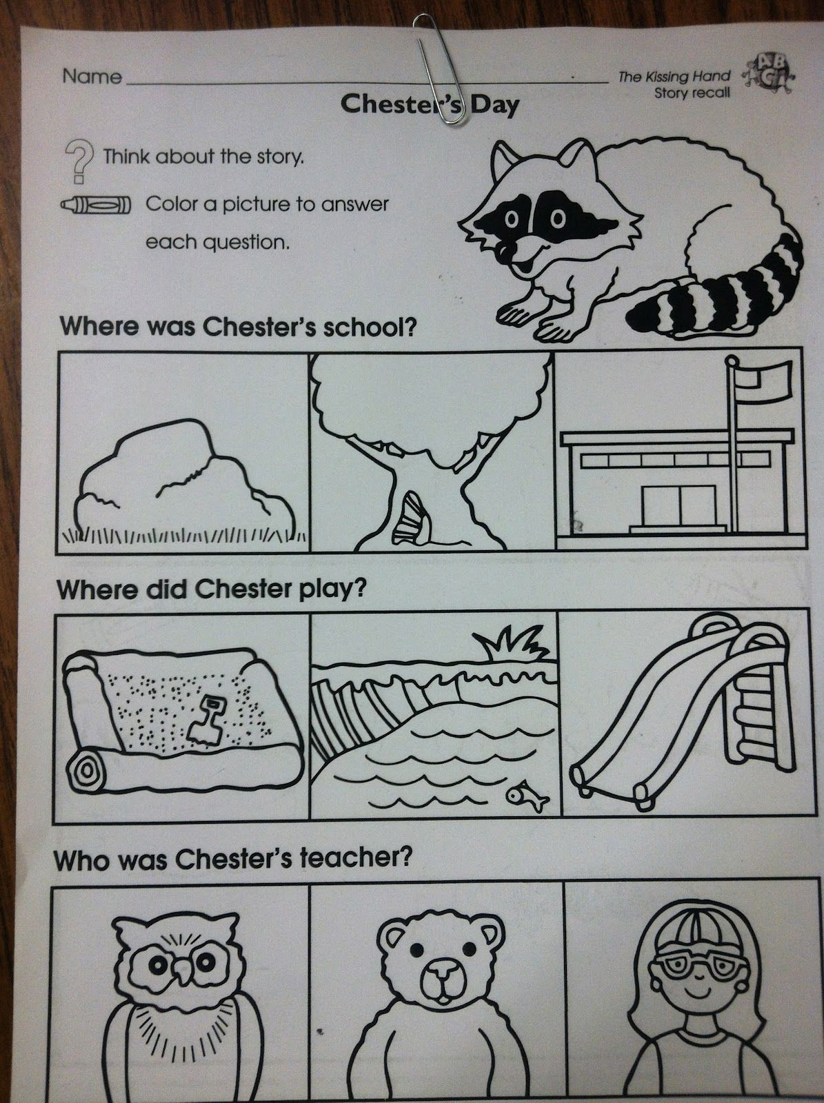 Chester Raccoon First Day Of School