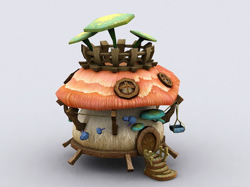 Mushroom Fairy House 3d model 3ds Max files free download