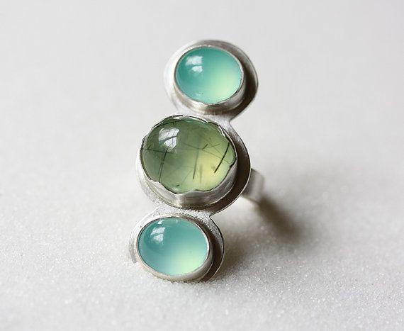 Prehnite+Chrysoprase+Ring/+Three+Stone+Ring/+by+modesteparisienne,+$154.00