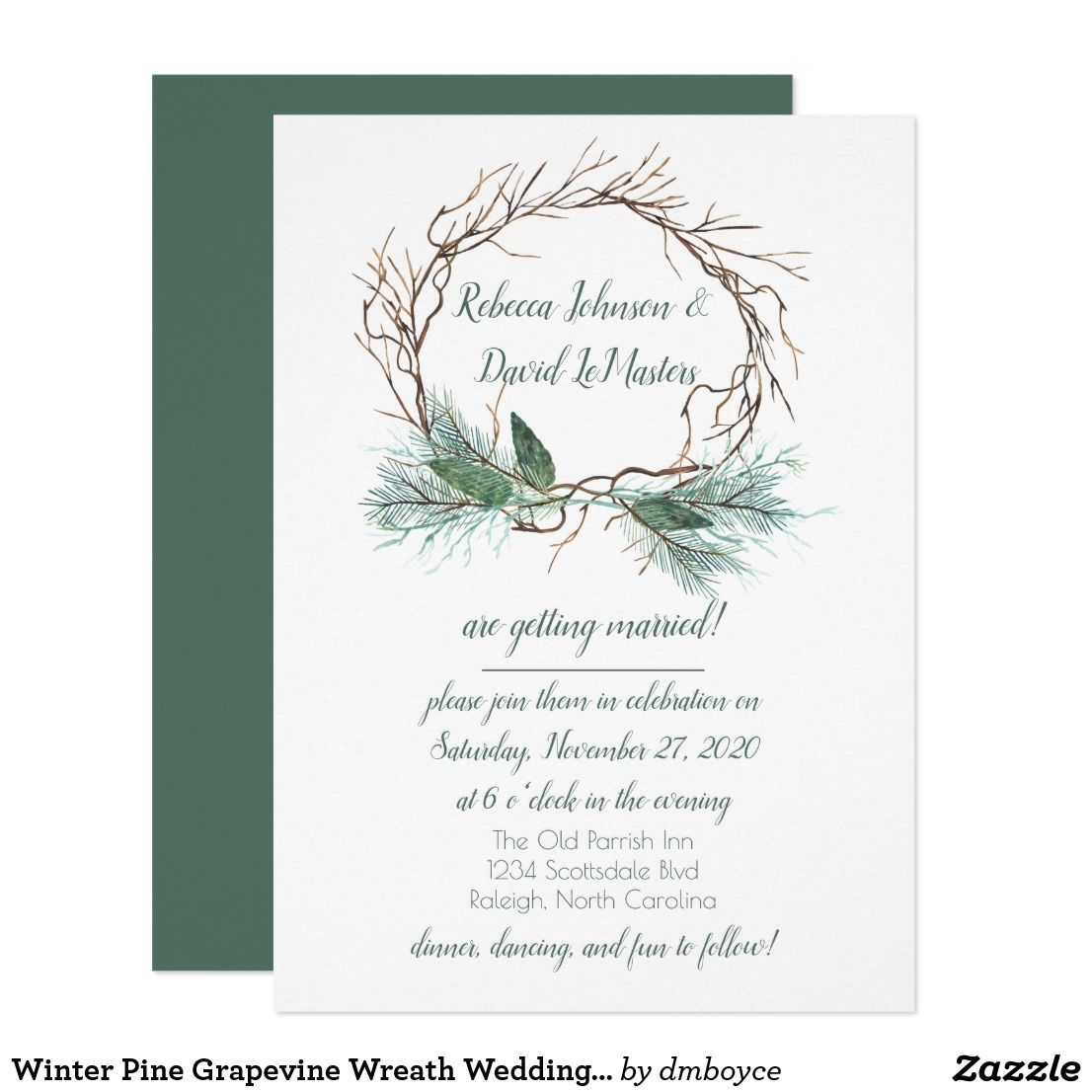 Winter Pine Grapevine Wreath Wedding Invitation