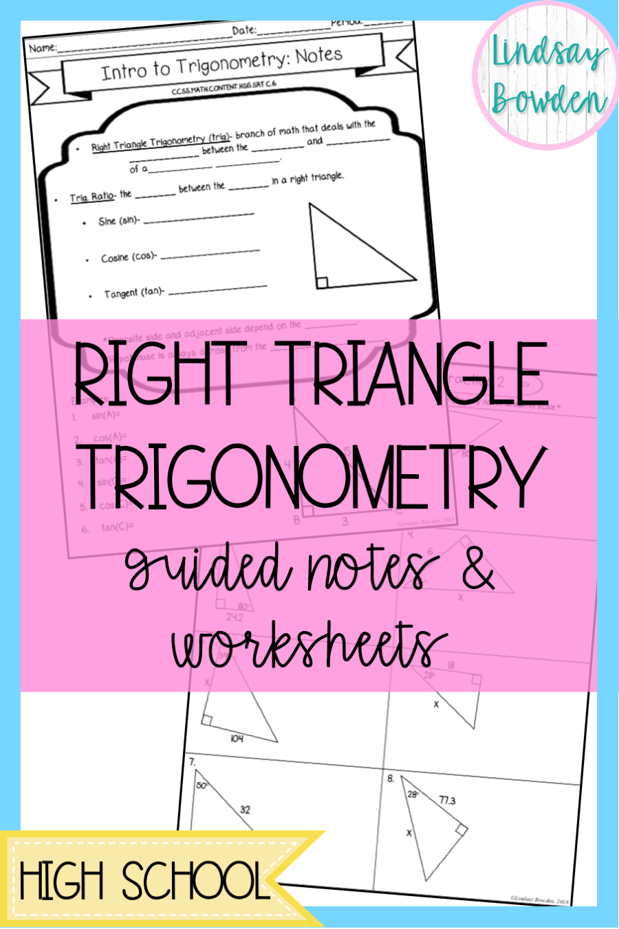 Right Triangle Trigonometry Guided Notes and Worksheets