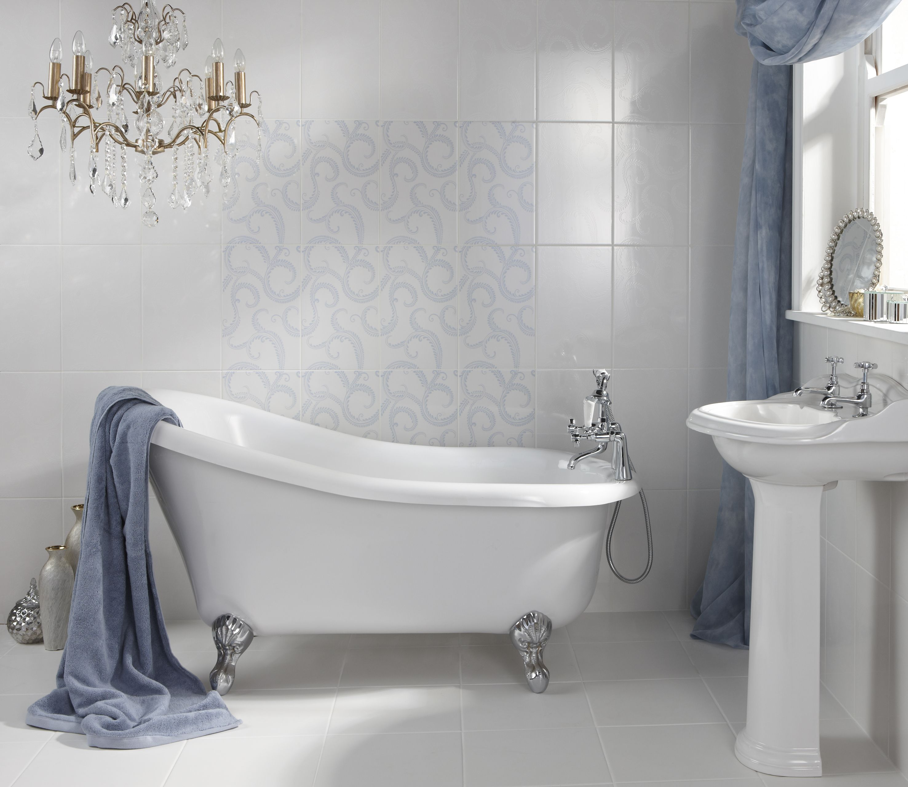 Laura Ashley Marchmont White And French Blue Tiles From House Of British Ceramic Tile Http Www B Blue Bathroom Tile Bathroom Tile Designs Best Bathroom Tiles