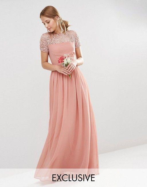 afa31ca00d Maya Pleated Maxi Dress With Pearl Embellishment | Fancy Shmancy ...